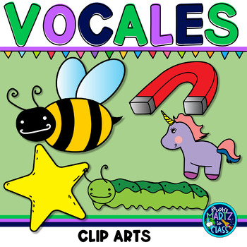 Las vocales (cliparts color & bw)