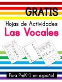 Las vocales tareas y actividades - Vowels worksheets in Spanish Free