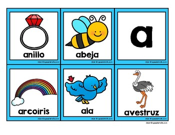 Las vocales vocabulary cards (Vowels in Spanish)