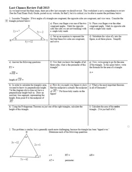 Last Chance Geometry Review Fall 2013 (Editable)