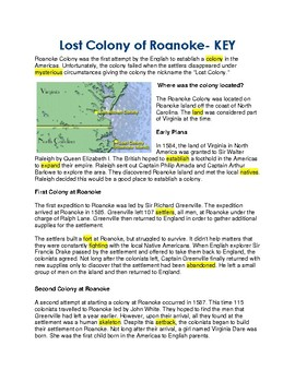 Last Colony of Roanoke - CLOZE reading