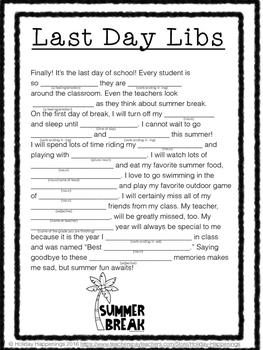 Last Day Libs: Parts of Speech practice disguised as Last Week of School fun