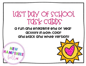 Last Day Task Cards
