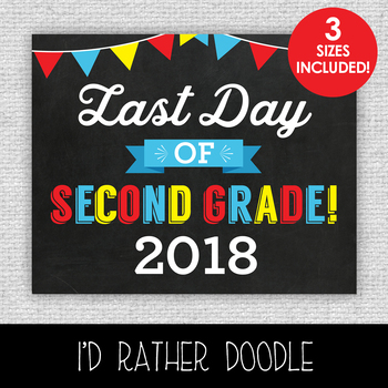 Last Day of 2nd Grade 2018 Printable Chalkboard Sign - 3 Sizes Included