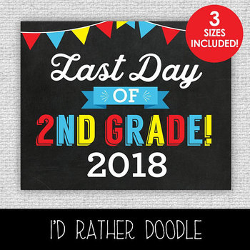 Last Day of 2nd Grade Printable Chalkboard Sign - 3 Sizes Included