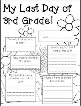 Last Day of 3rd Grade Activity Sheet