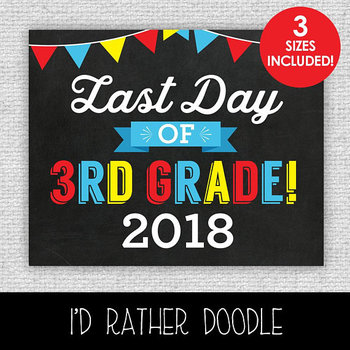 Last Day of 3rd Grade Printable Chalkboard Sign - 3 Sizes Included