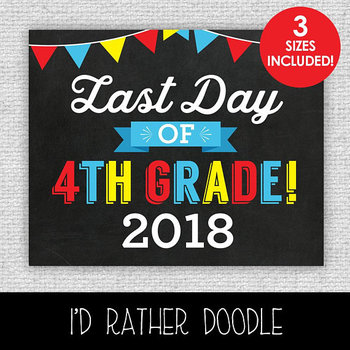 Last Day of 4th Grade Printable Chalkboard Sign - 3 Sizes Included