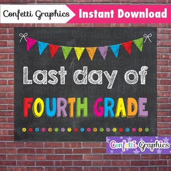Last Day of Fourth Grade 4th Chalkboard Sign Last Day of School Photo Prop