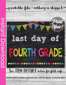 Last Day of Fourth Grade Sign Printable End of Year Chalkboard Poster Photo Prop