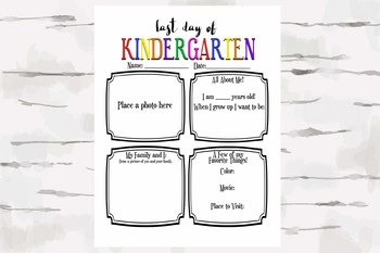 Last Day of Kindergarten Activity Sheet, End of the Year Activity