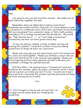 "Last Day of Kindergarten ""Connections"" Postcard Activity"