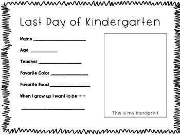 Last Day of Kindergarten Keepsake Freebie!