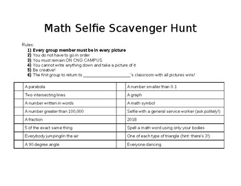 Last Day of Math Activity!