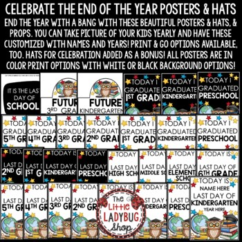 Student Last Day of School Posters -Chalkboard School Theme