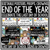 Student Last Day of School Posters -Chalkboard Theme Last Day of School Sign