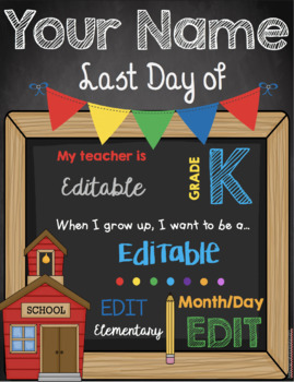 Last Day of School Chalkboard Sign - EDITABLE - All Grade