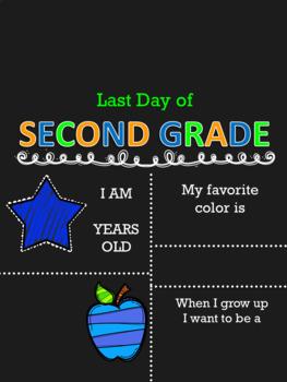 Last Day of School Chalkboard Sign EDITABLE Preschool-12th grade BOY VERSION