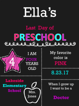 Last Day of School Chalkboard Sign EDITABLE Preschool-12th grade GIRL VERSION