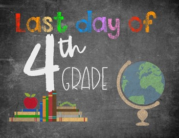 Last Day of School Chalkboard Sign (colored)