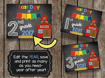 Last Day of School Chalkboard Signs - Editable - ALL GRADES