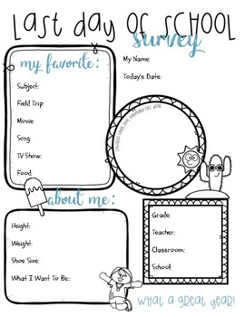 photograph about Survey Printable identify Final Working day of College or university Conclusion of Calendar year Exciting Study Printable Cost-free TpT
