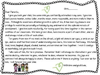 Last Day of School Letter to Parents
