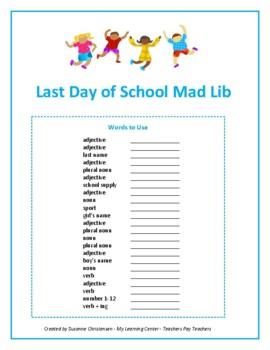 Last Day of School Mad Lib