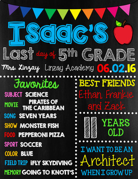 EDITABLE Last Day of School Sign with Memories