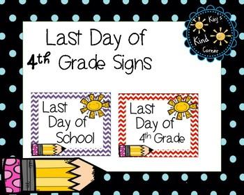 Last Day of School Signs 4th Grade