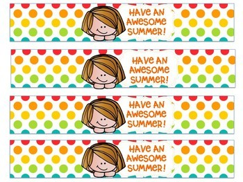 Last Day of School Summer Water Bottle Labels FREEBIE
