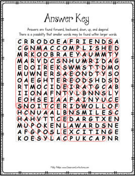 Last Day of School Activity: Word Search Activity Puzzle