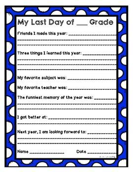 Last Day of School Worksheet