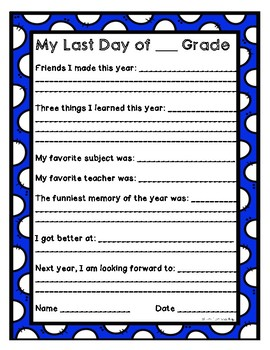 Last Day of School Worksheet by Lisa's Learning Shop   TpT