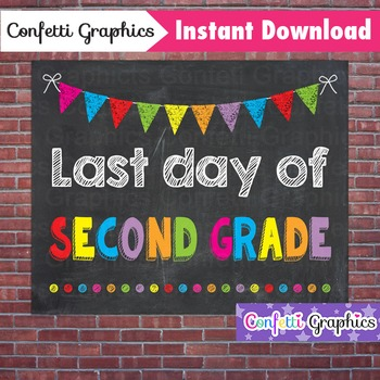Last Day of Second Grade 2nd Chalkboard Sign Last Day of School Photo Prop