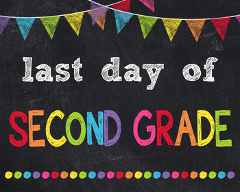 Last Day of Second Grade Sign Printable End of Year Chalkboard Poster Photo Prop
