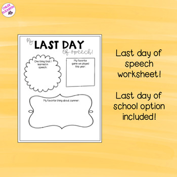 Last Day of Speech FREEBIE! Activity for Speech Therapy!