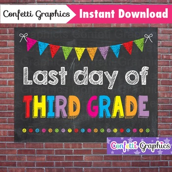 Last Day of Third Grade 3rd Chalkboard Sign Last Day of School Photo Prop