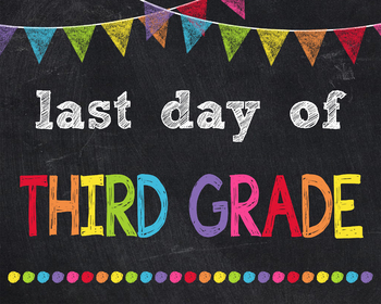 Last Day of Third Grade Sign Printable End of Year Chalkboard Poster Photo Prop