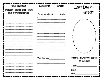 Last Day of ____ Grade Trifold