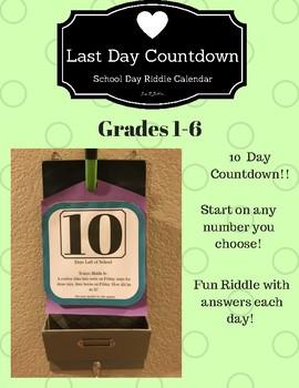 Last Days of School Countdown Riddle Calendar