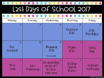 Last Days of School Organizer