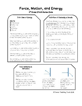 5th Grade Science STAAR Review- Force, Motion, & Energy Streamlined TEKS Update