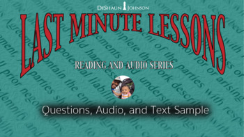 Last Minute Lesson ELAR - Informational Text Article w/Audio Sample Lesson