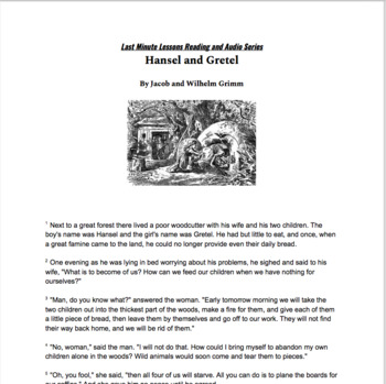 Last Minute Lessons: Read and Audio Series Hansel and Gretel by DeShaun Johnson