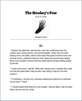 Last Minute Lessons The Monkey's Paw by W. W. Jacobs