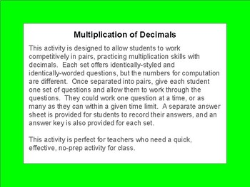 Last Minute Math - Multiplying Decimals, low-prep math activity; 64 task cards