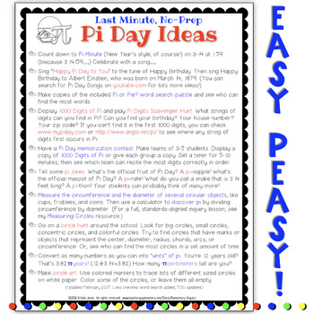 Last Minute No Prep Pi Day Activity Ideas
