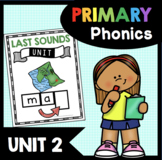 Last Sounds Unit - Final Phonemes - Phonics Unit  CVC Words Worksheets - Centers