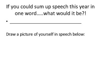 End of the Year Speech Therapy Task